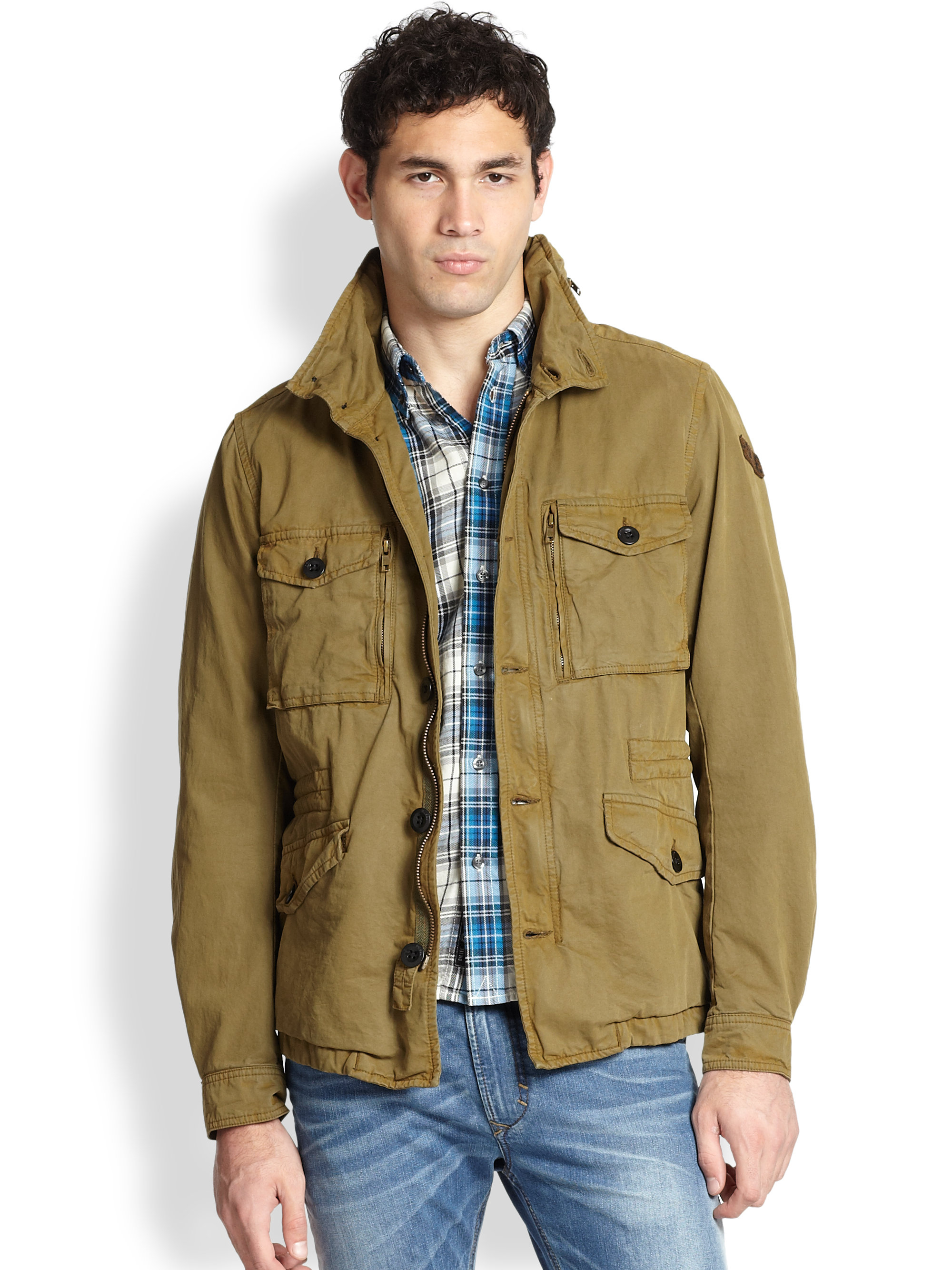 Diesel Twill Military Jacket in Green for Men | Lyst