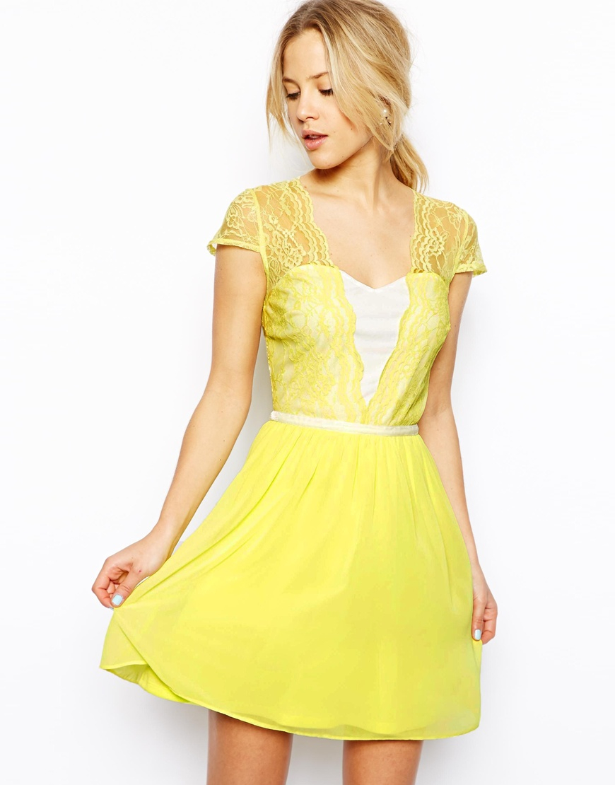 Asos yellow lace skater dress