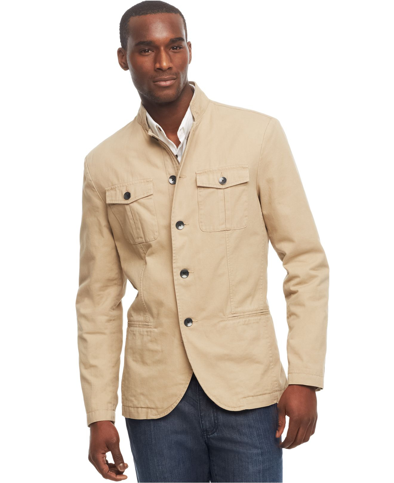 Kenneth cole reaction Military Blazer in Natural for Men | Lyst