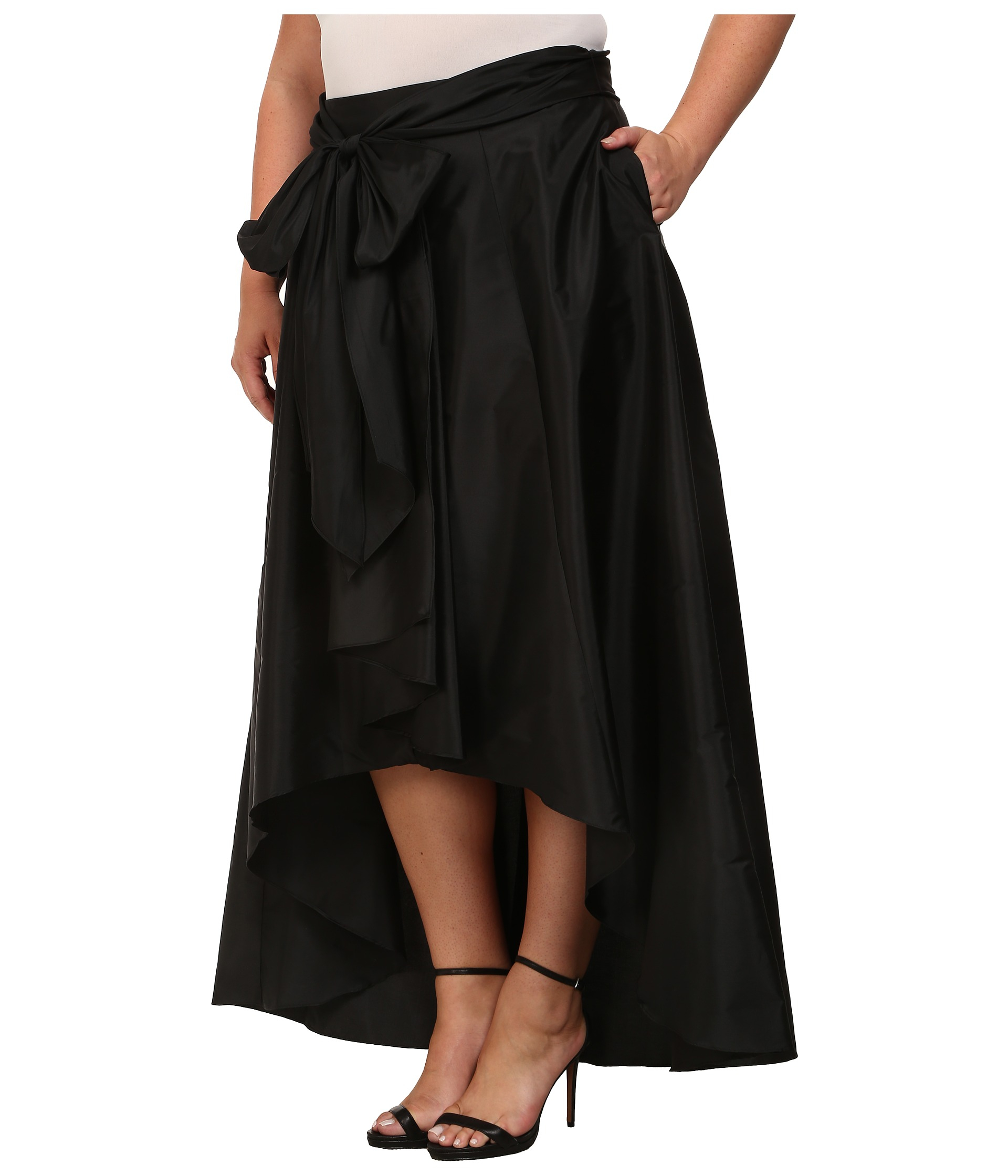 papell plus size high low skirt in black lyst