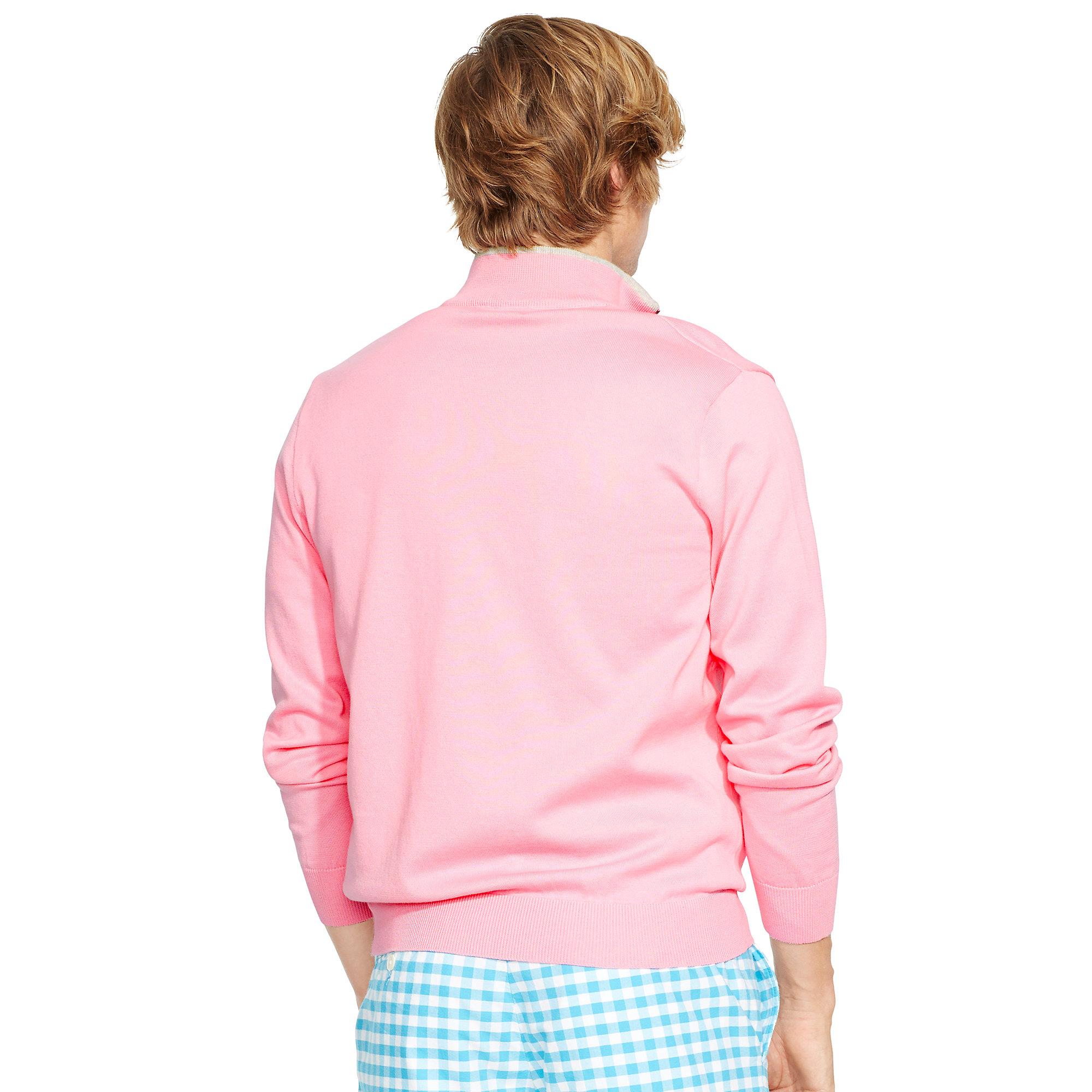 Ralph lauren Pima Cotton Half-zip Sweater in Pink for Men | Lyst