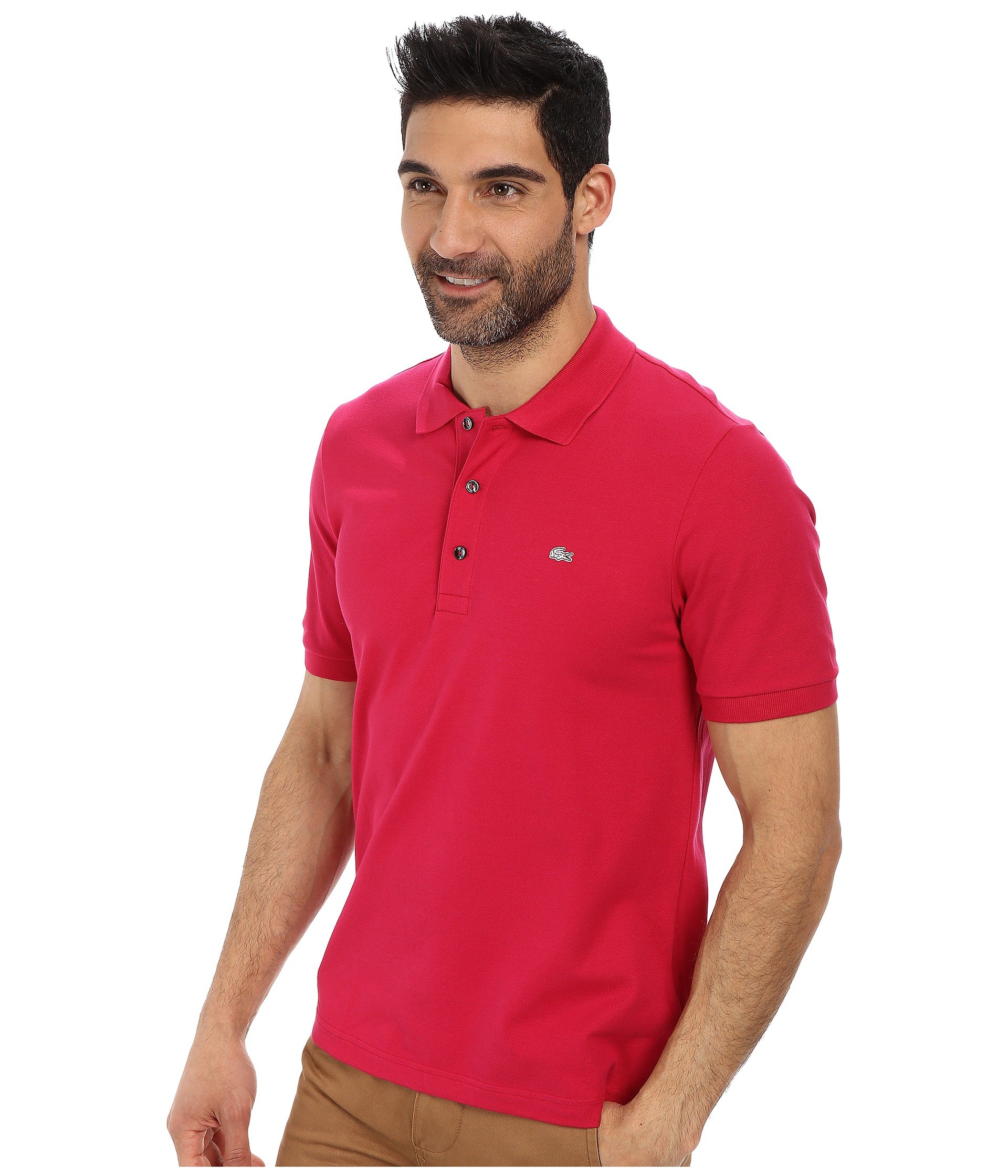 Lyst lacoste premium short sleeve slim fit stretch pique for Stretch polo shirt mens