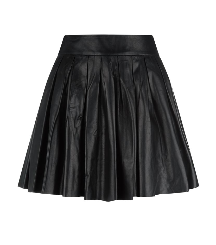 box pleat leather skirt in black lyst