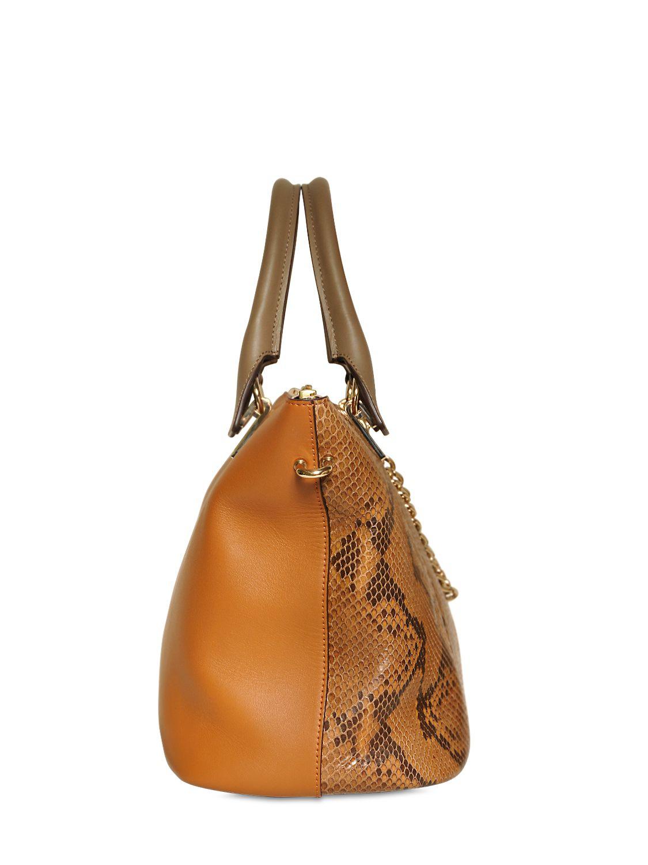 Chlo¨¦ Medium Baylee Python Leather Bag in Brown (TEAK BROWN) | Lyst
