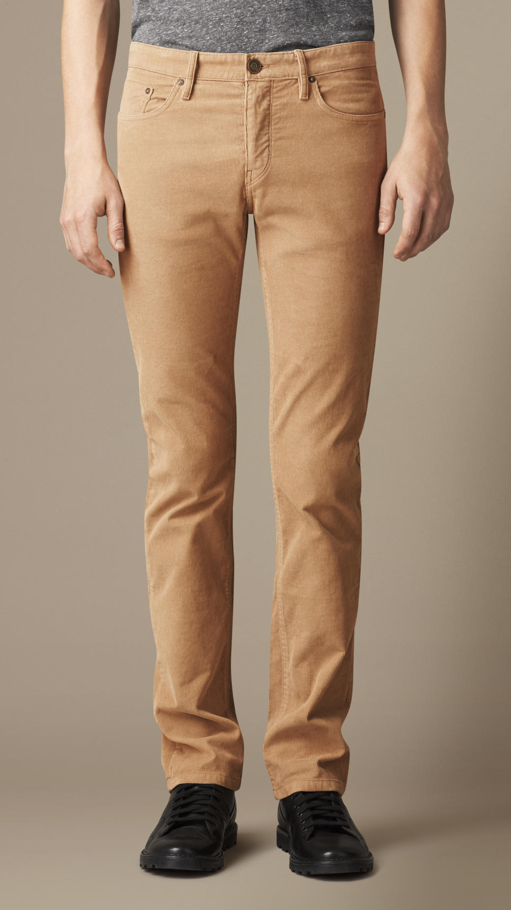 Burberry Slim Fit Corduroy Trousers in Brown for Men | Lyst