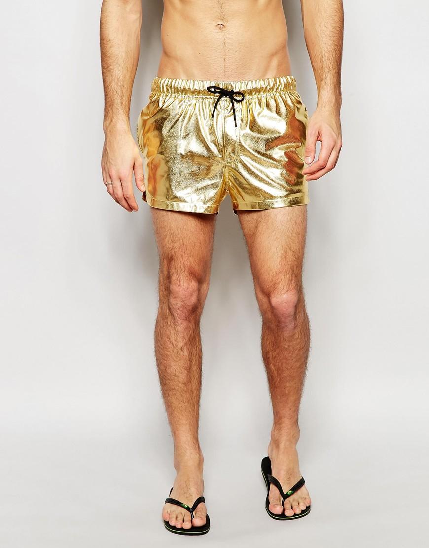 3954de163725 ASOS Swim Shorts In Metallic Gold Short Length in Metallic for Men ...