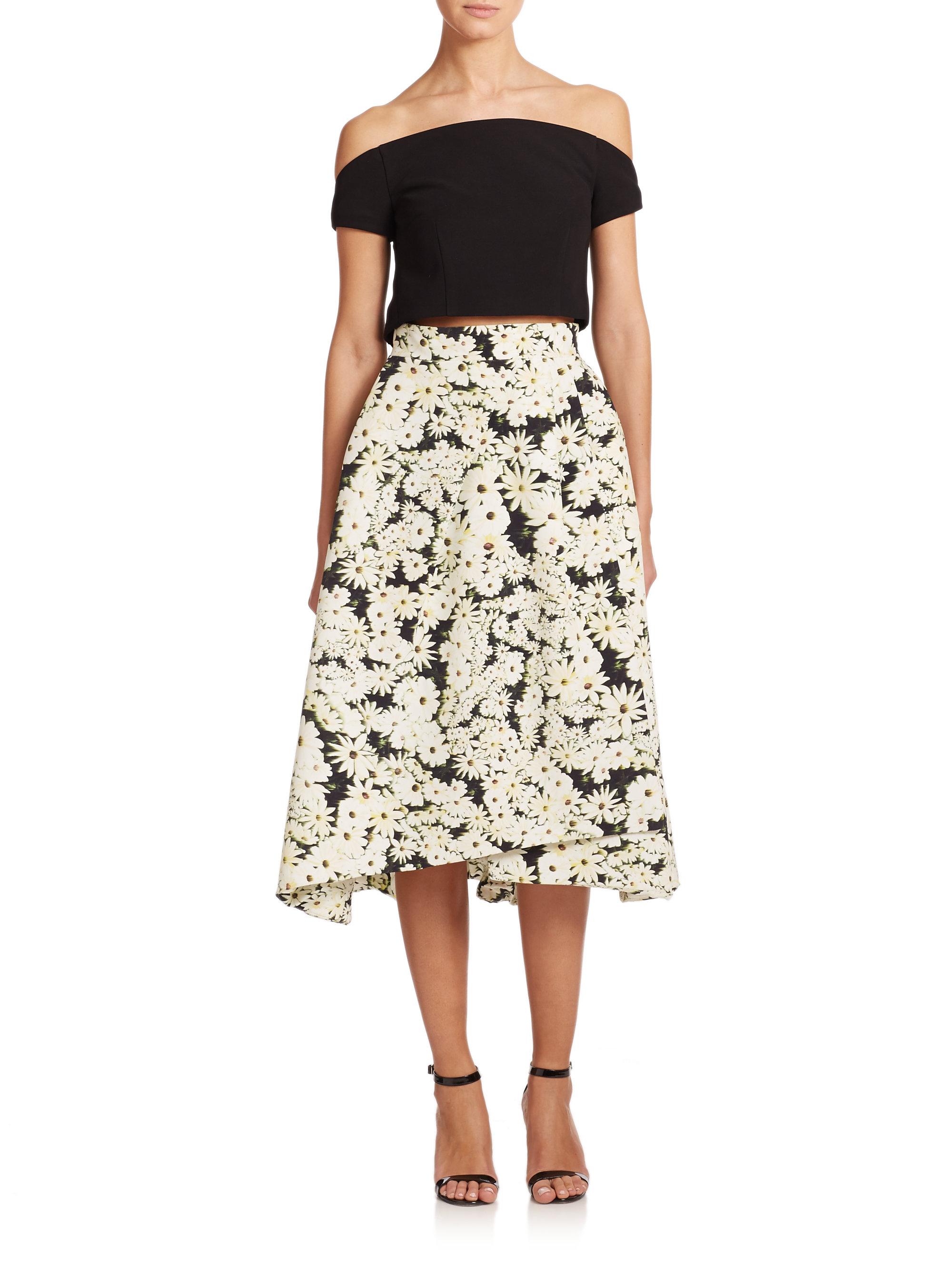 nicholas pleated print midi skirt in black lyst