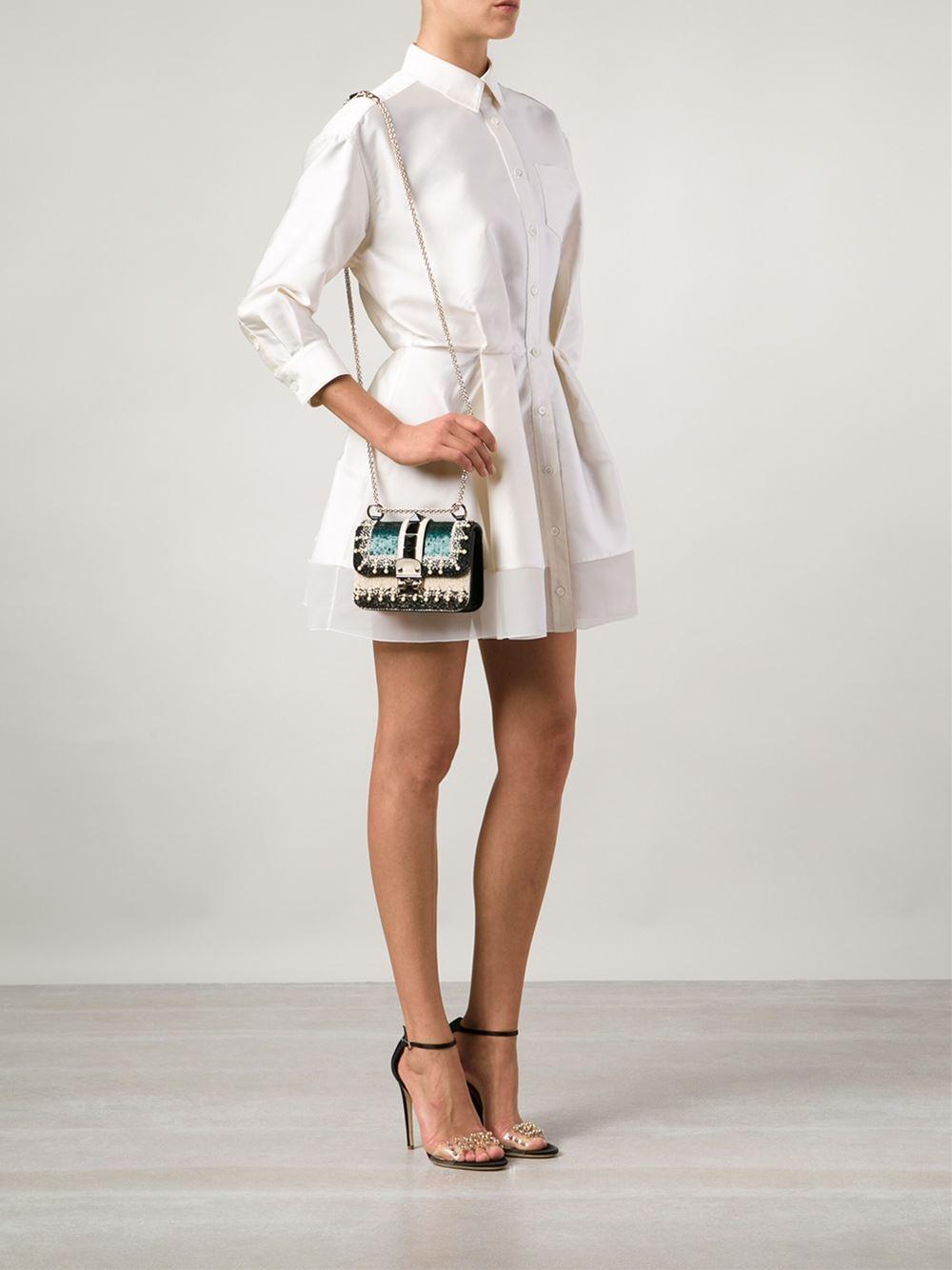 Valentino Glam Lock Shoulder Bag Embellished Leather Small MkzMAccS