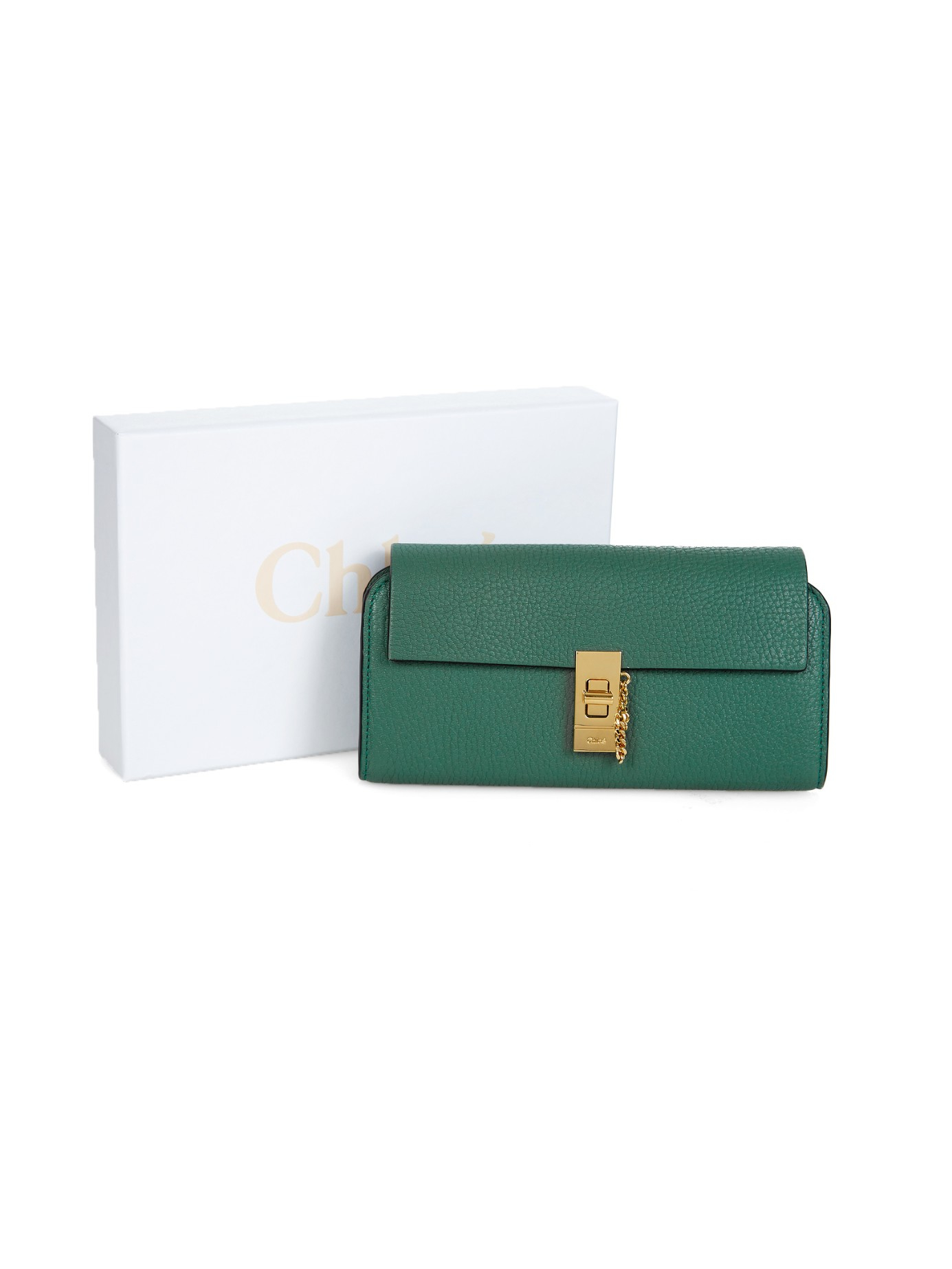 Chlo�� Drew Grained-Leather Continental Wallet in Gold (GREEN) | Lyst