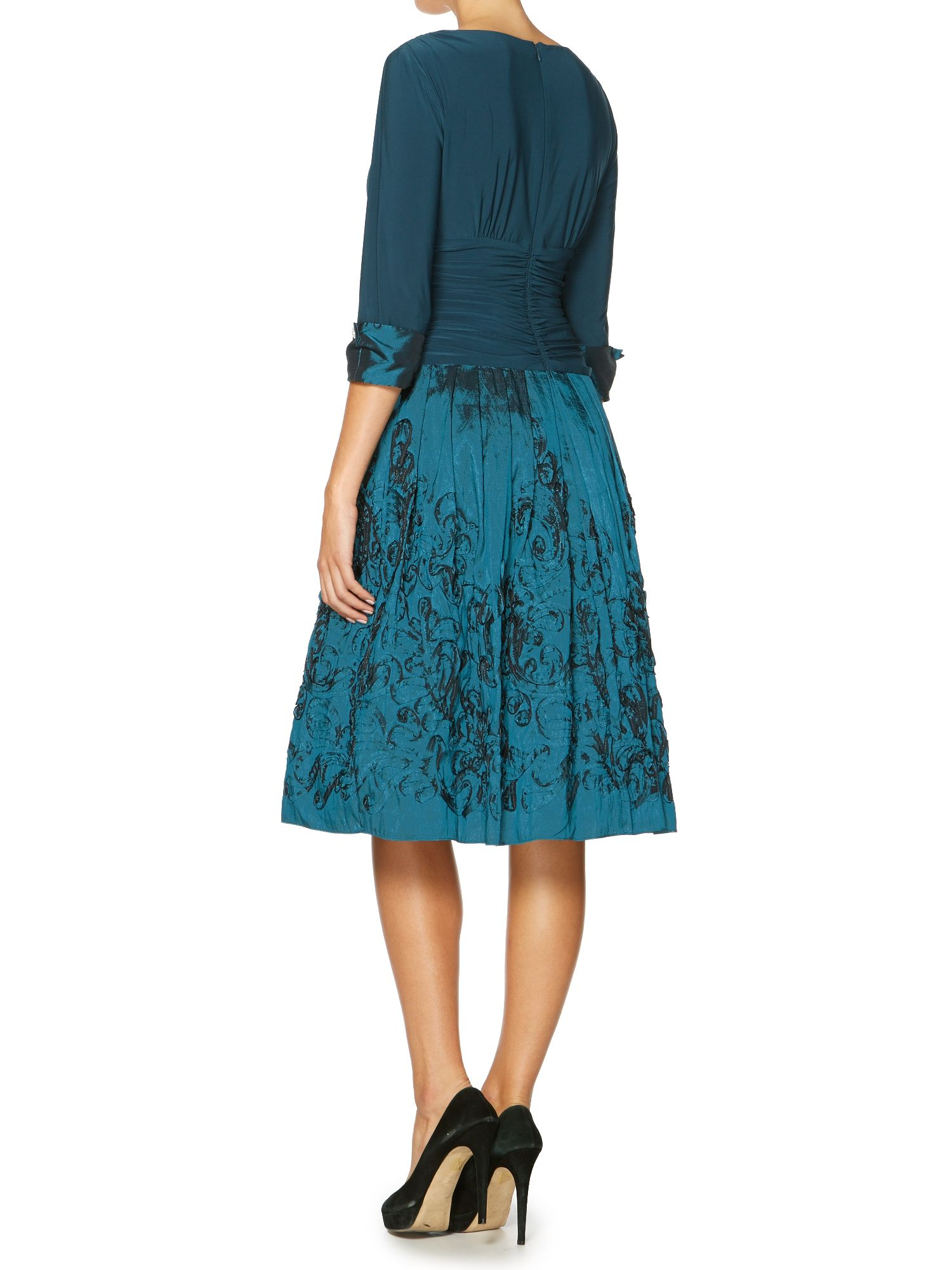 Eliza J 3/4 Cuff Sleeve Dress With Pleated Skirt in Blue ...