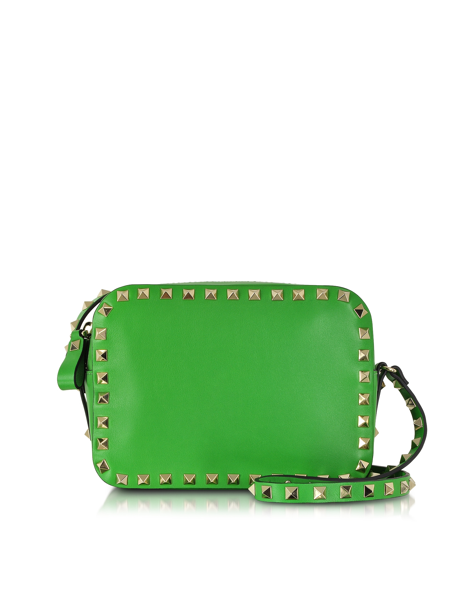 lyst valentino rockstud green leather crossbody bag in green. Black Bedroom Furniture Sets. Home Design Ideas