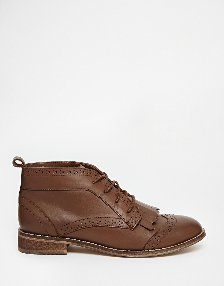 asos abery brogue lace up leather ankle boots in brown lyst