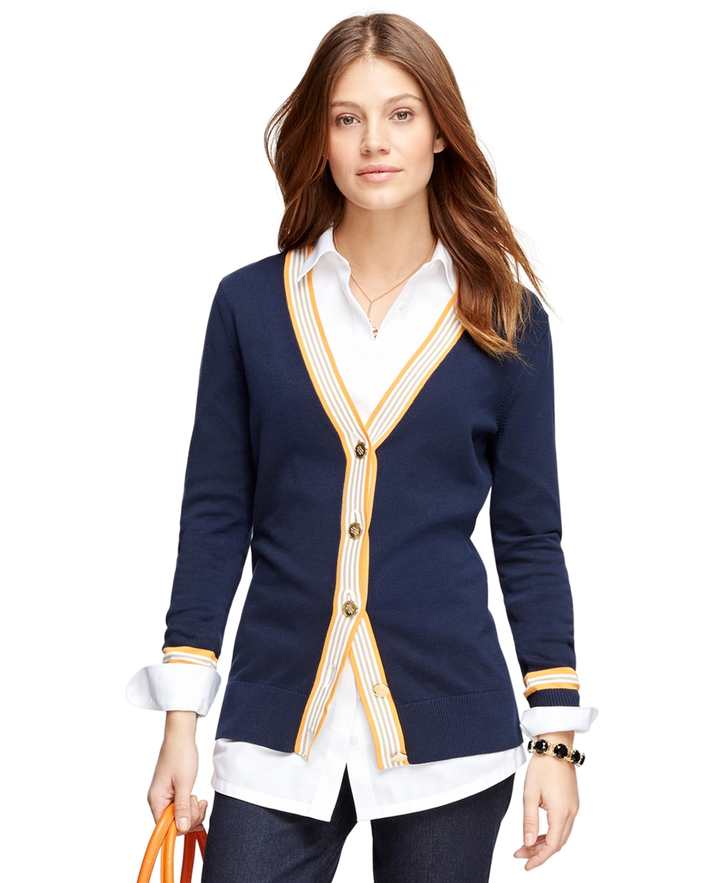 Brooks brothers Cotton Boyfriend Cardigan in Blue | Lyst