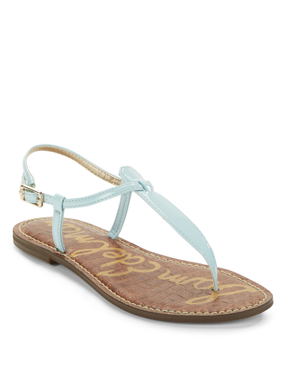 f780703d845441 Sam Edelman Gigi Patent Leather Thong Sandals in Blue - Lyst
