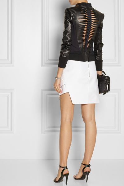 Dion Lee Cutout Scuba Backed Leather Biker Jacket In Black