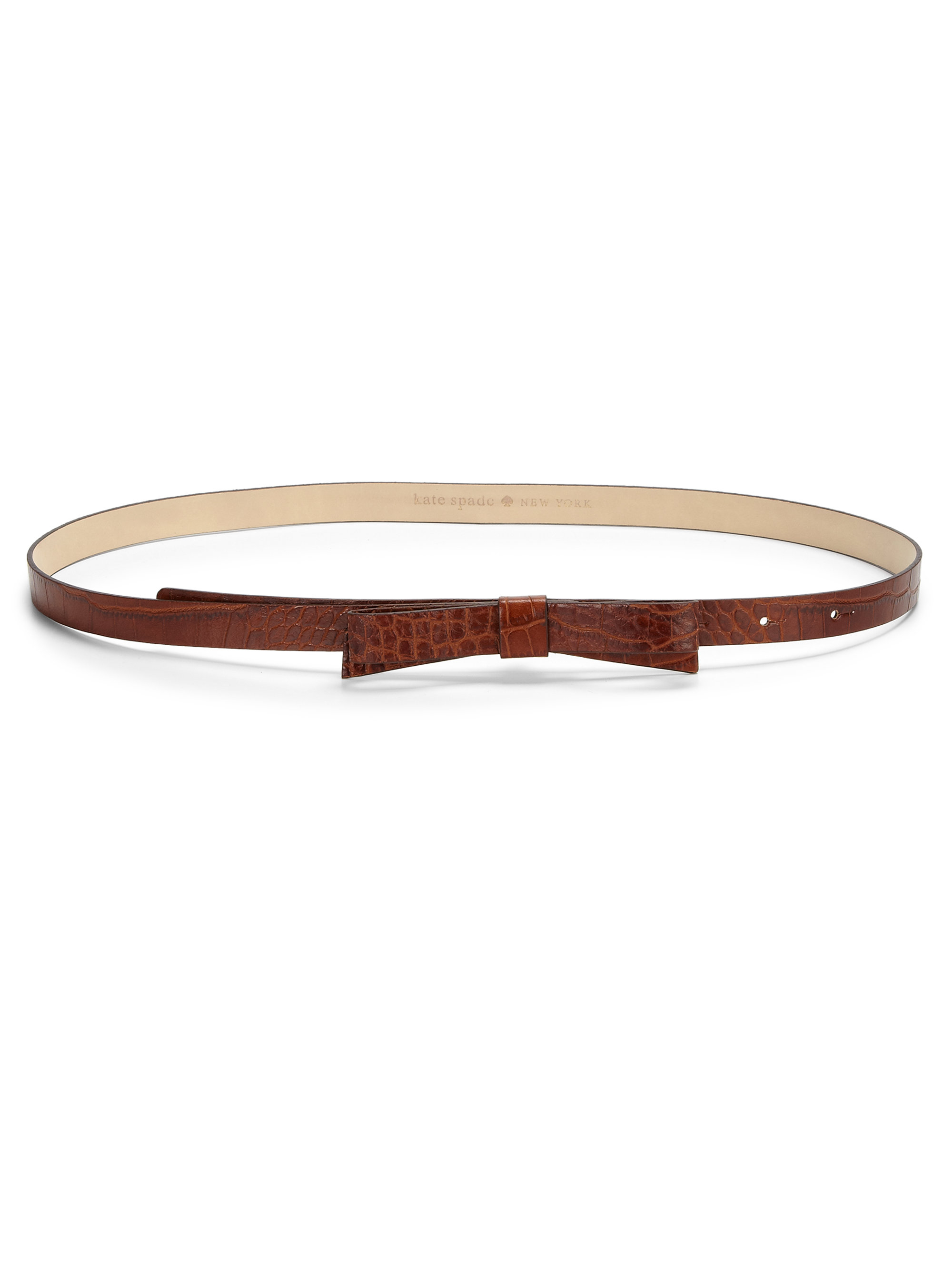 kate spade new york crocembossed bow belt in brown