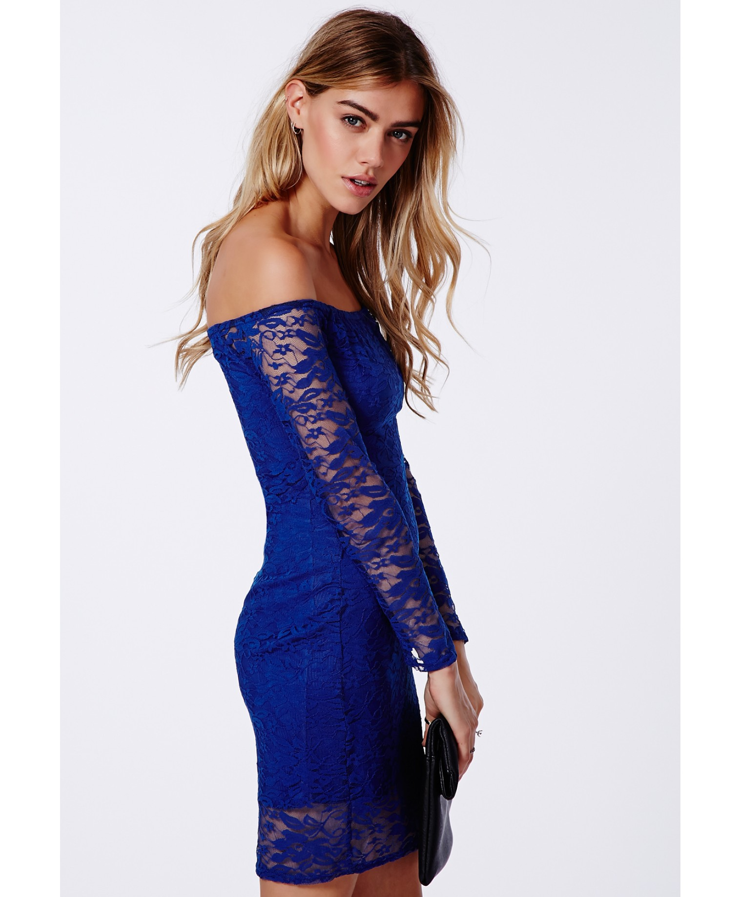bac86b0eeafa Lyst - Missguided Gracie Lace Bardot Bodycon Dress Cobalt Blue in Blue