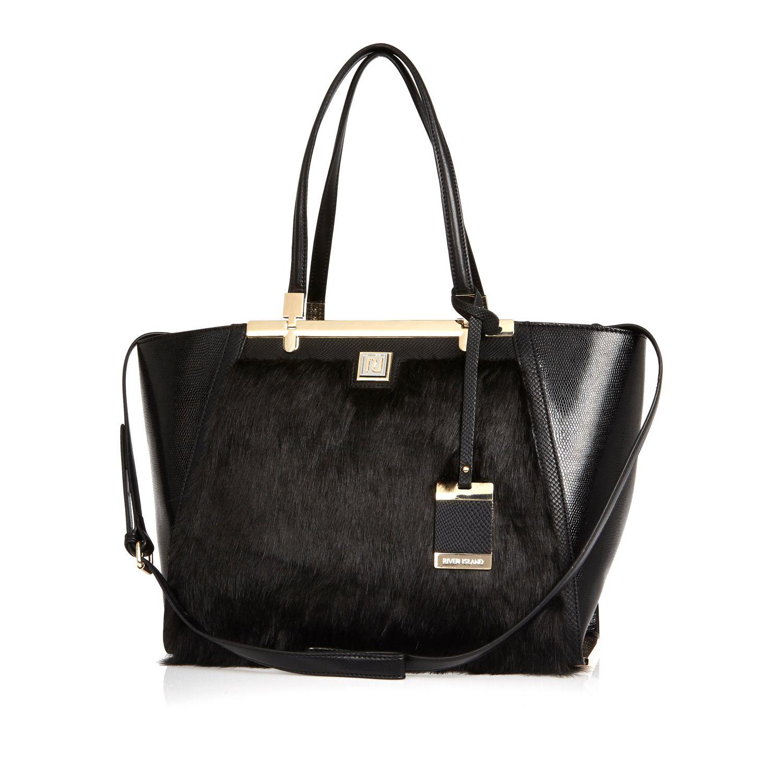 c7e2a5f3dc River Island Black Faux Fur Winged Tote Handbag in Black - Lyst