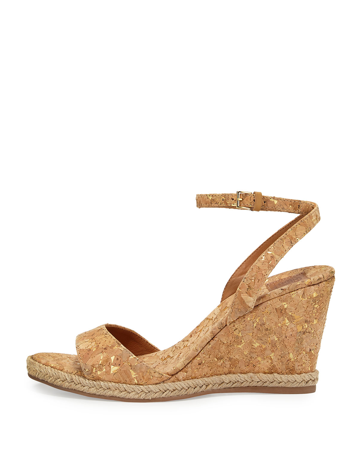 f0e5f9718 Lyst Tory Burch Marion Quilted Cork Wedge Sandals In Metallic