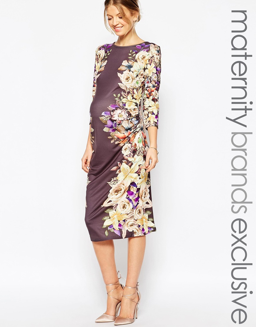 8cbfa5351fc94 Bluebelle Maternity Floral Printed Body-conscious Pencil Dress - Lyst