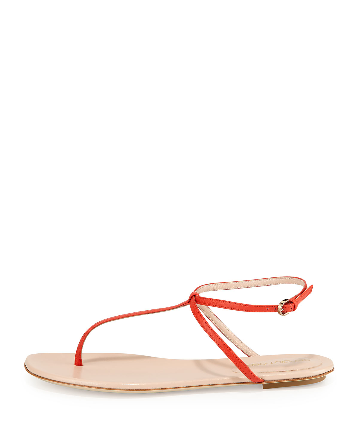 9ed8991711a9 Sergio Rossi Skinny-strap Leather Thong Sandal in Red - Lyst
