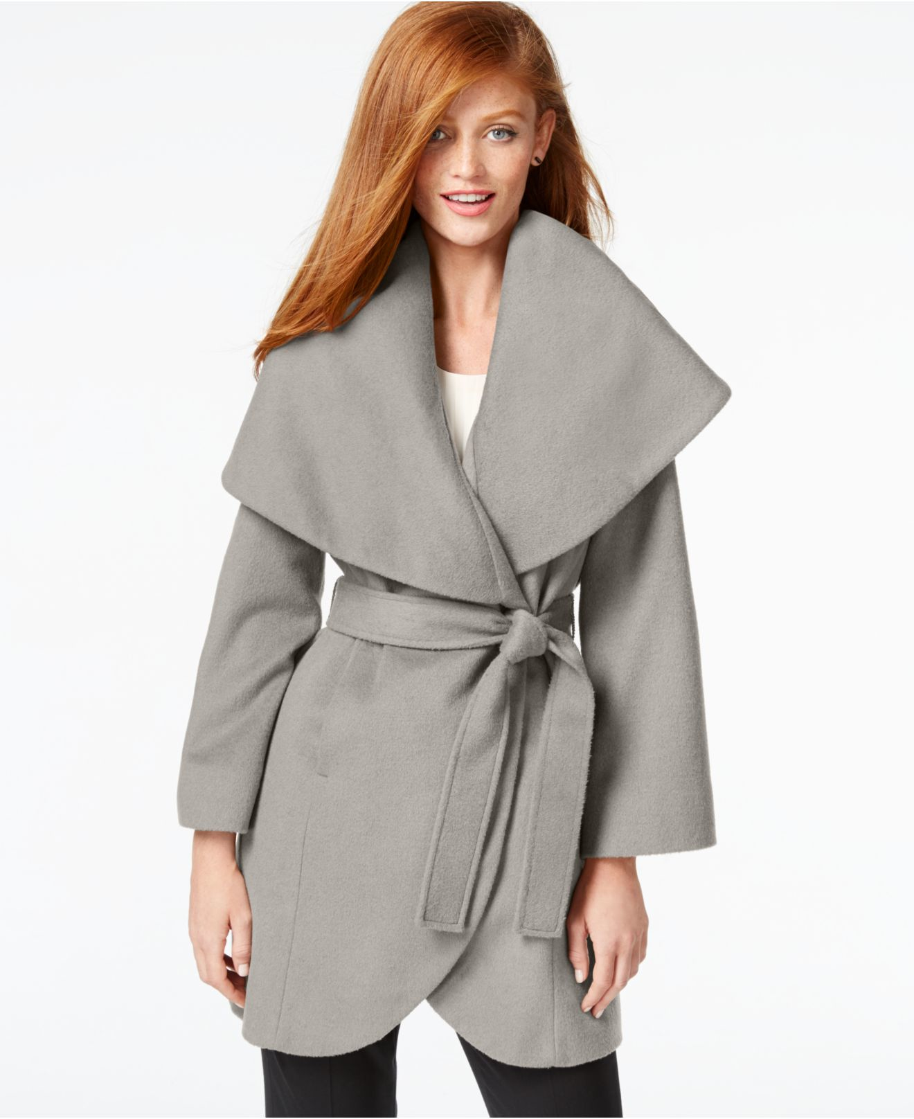 Tahari Wool-blend Wrap Coat in Gray | Lyst