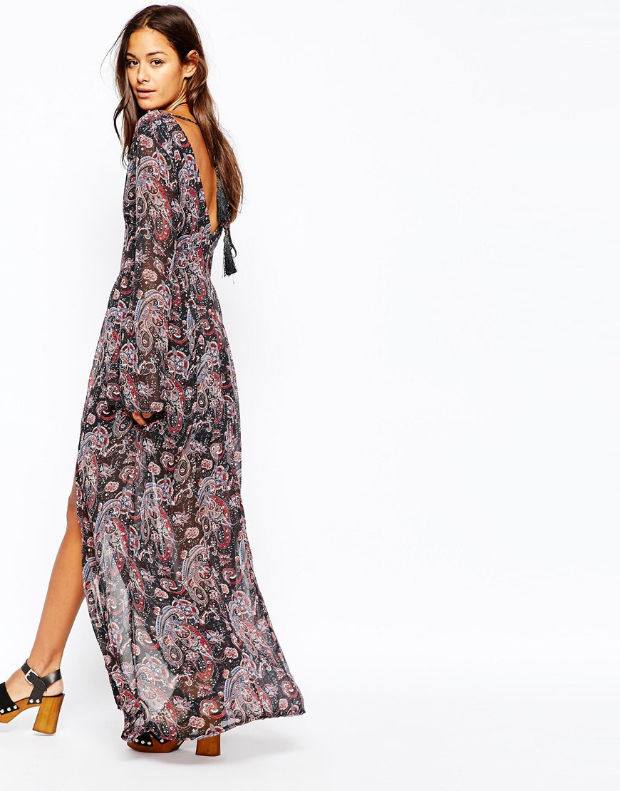 Missguided Boho Paisley Print Maxi Dress In Gray Lyst