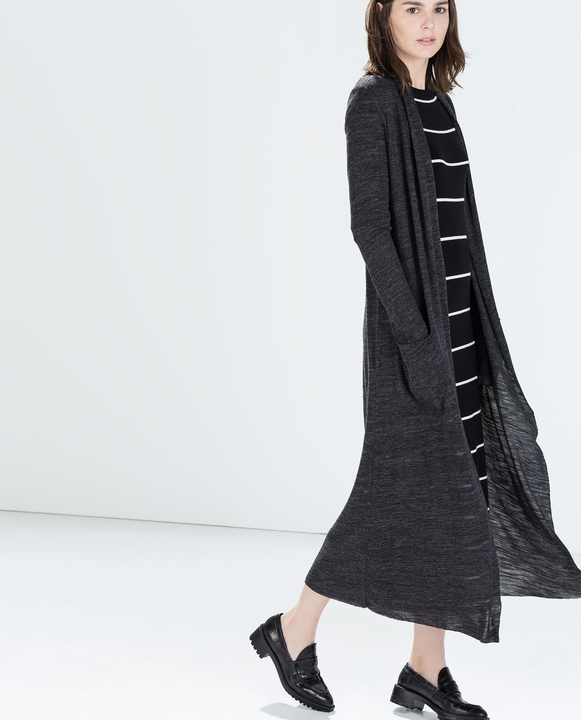 zara long cardigan in gray lyst. Black Bedroom Furniture Sets. Home Design Ideas