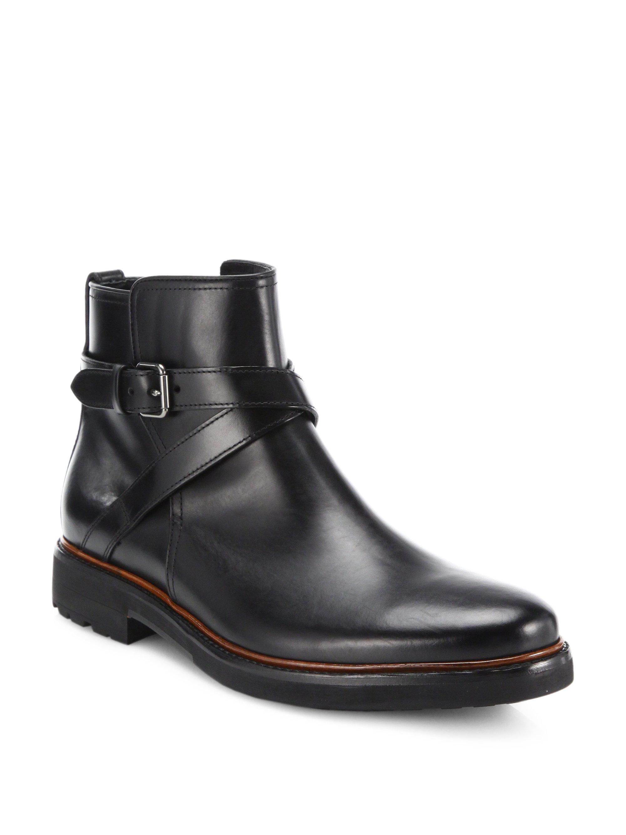 coach bryant buckled leather ankle boots in black for