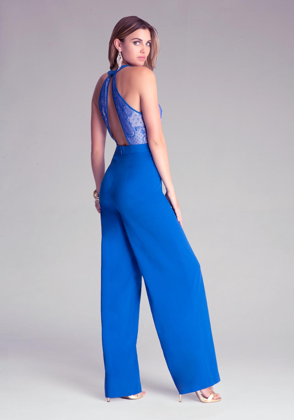Lyst Bebe Lace Bodice Wide Leg Jumpsuit In Blue