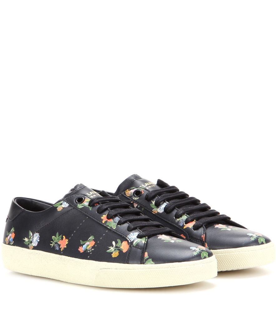 saint laurent leather sneakers in black lyst. Black Bedroom Furniture Sets. Home Design Ideas