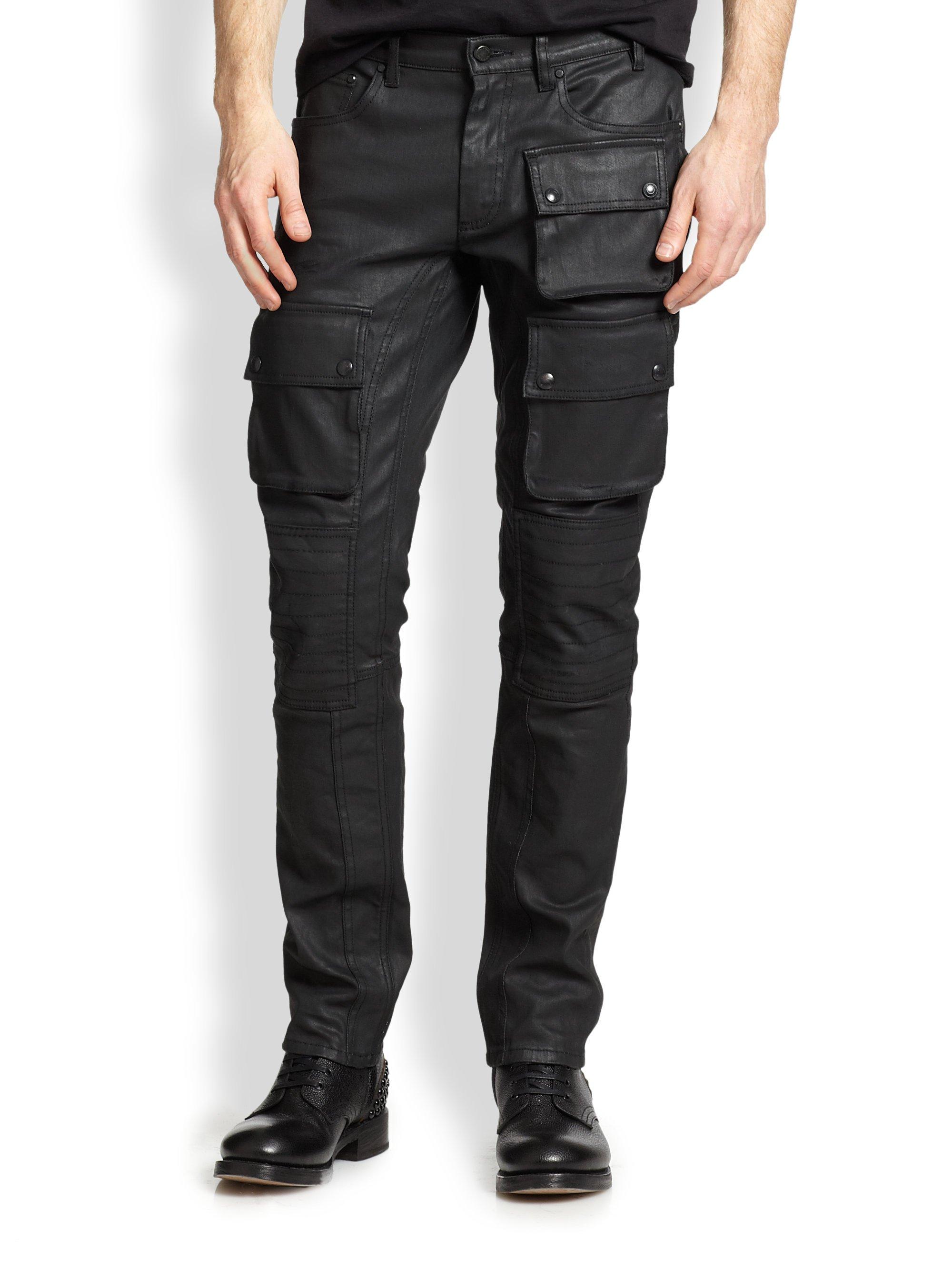 Belstaff Resincoated Moto Jeans in Black for Men | Lyst