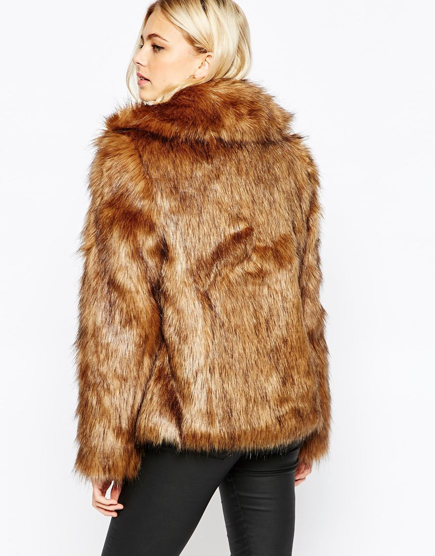 Oasis Faux Fur Coat in Brown | Lyst