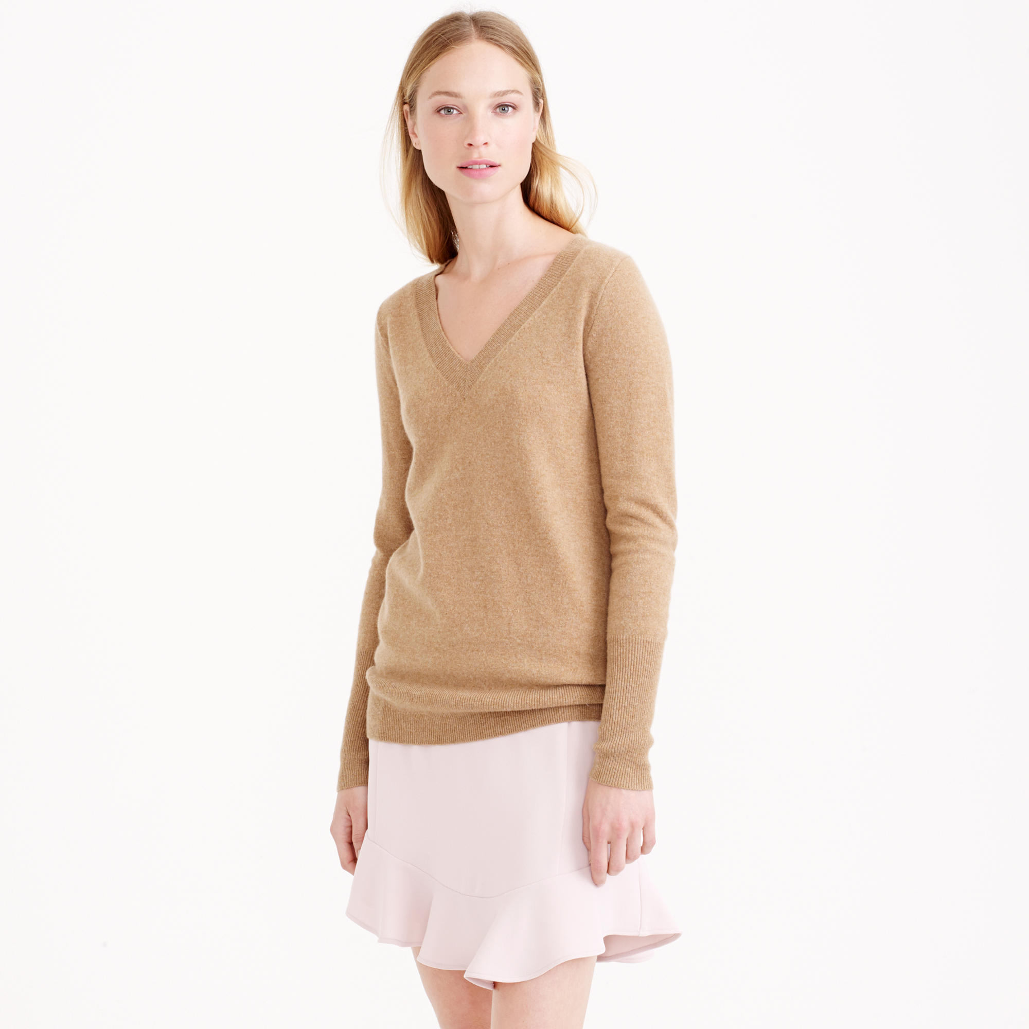 J.crew Collection Cashmere V-neck Sweater in Brown | Lyst