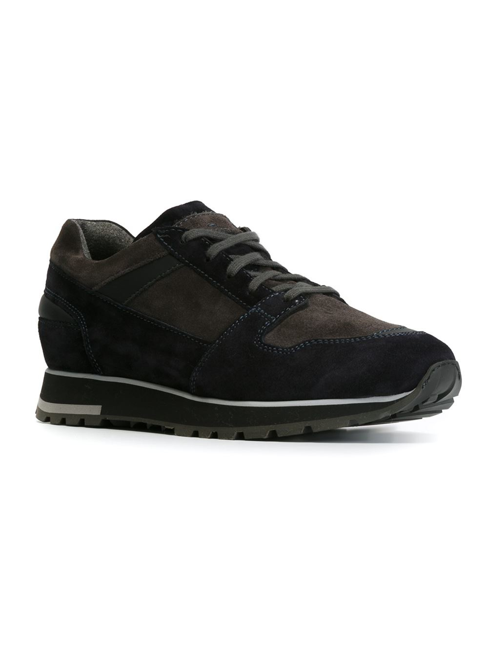 Santoni Suede Lace Up Sneaker In Black For Men Lyst