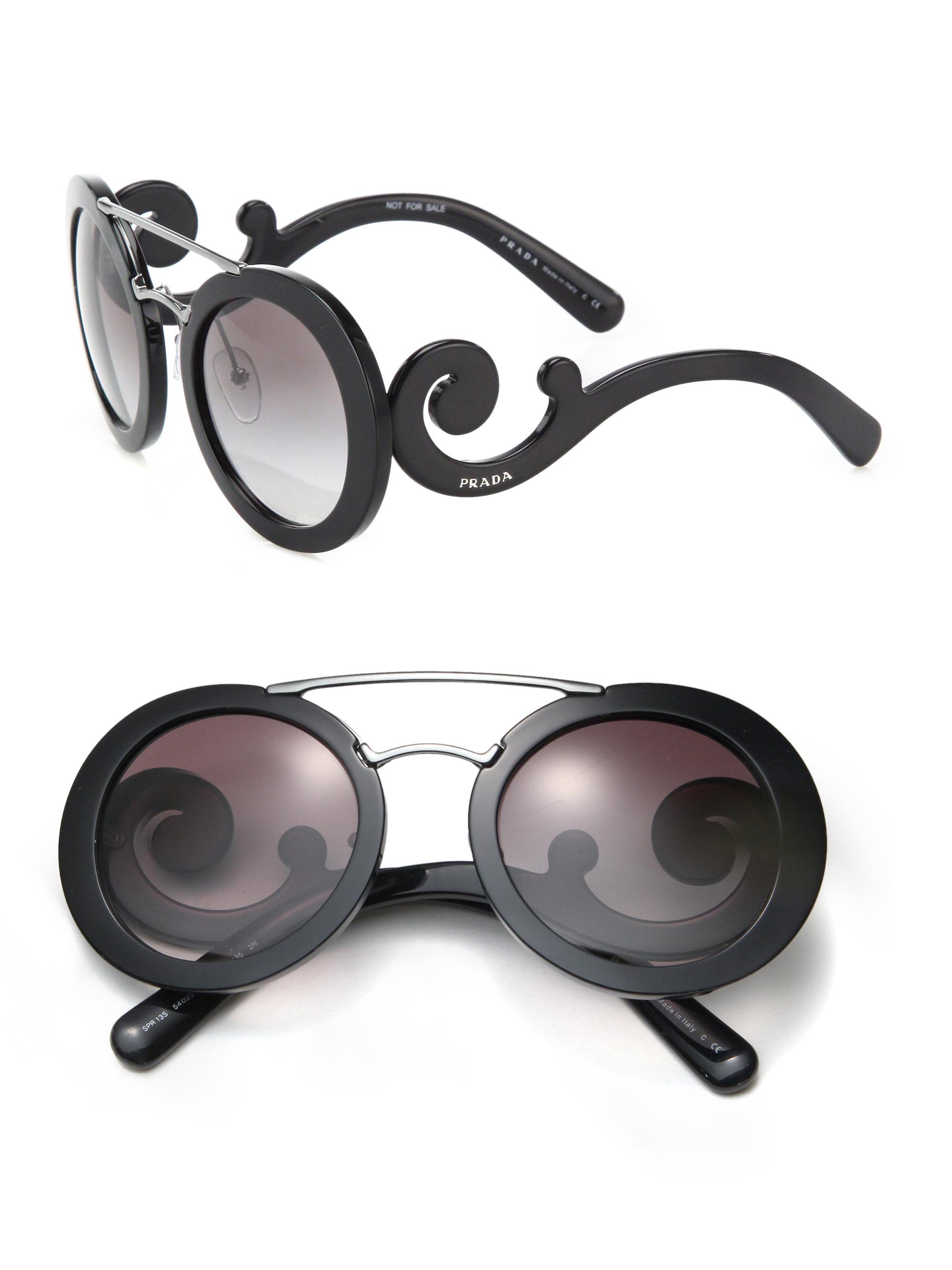 57277b5aef Prada 54mm Round Acetate   Metal Sunglasses in Black - Lyst