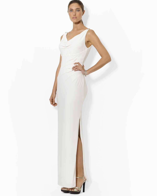 Lyst - Ralph Lauren Lauren Gown Cowlneck Sleeveless Pin Shoulder in ...