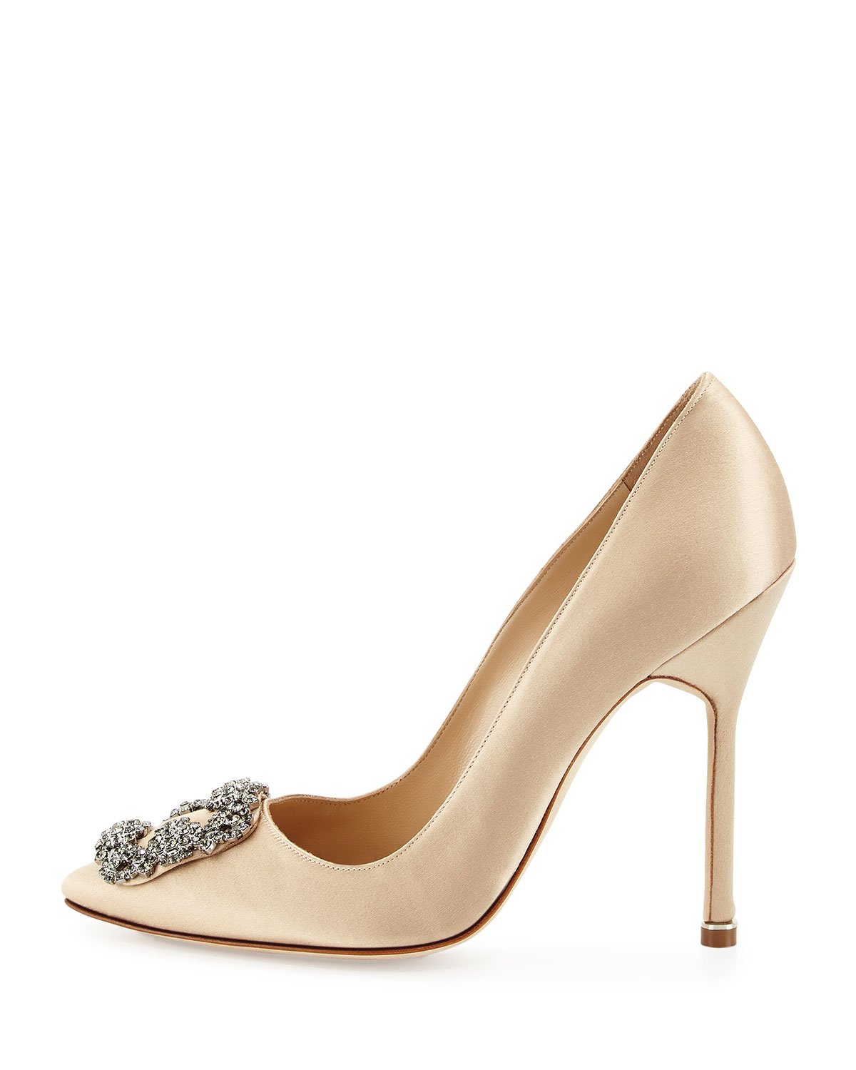 Manolo blahnik hangisi satin crystal toe pumps in metallic for Shoes by manolo blahnik