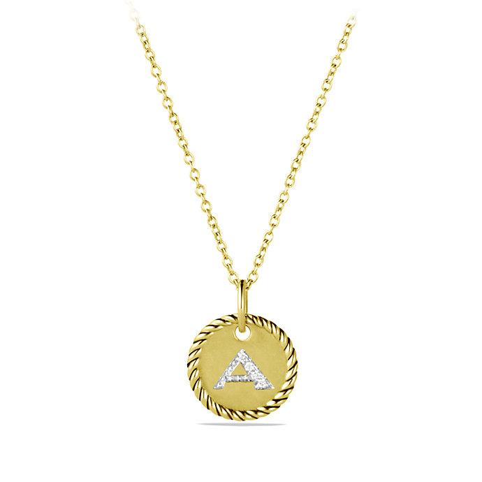 david yurman initial charm necklace with diamonds in 18k