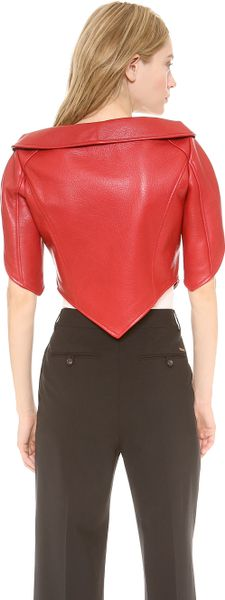 Moschino Leather Heart Shaped Jacket in Red - Lyst