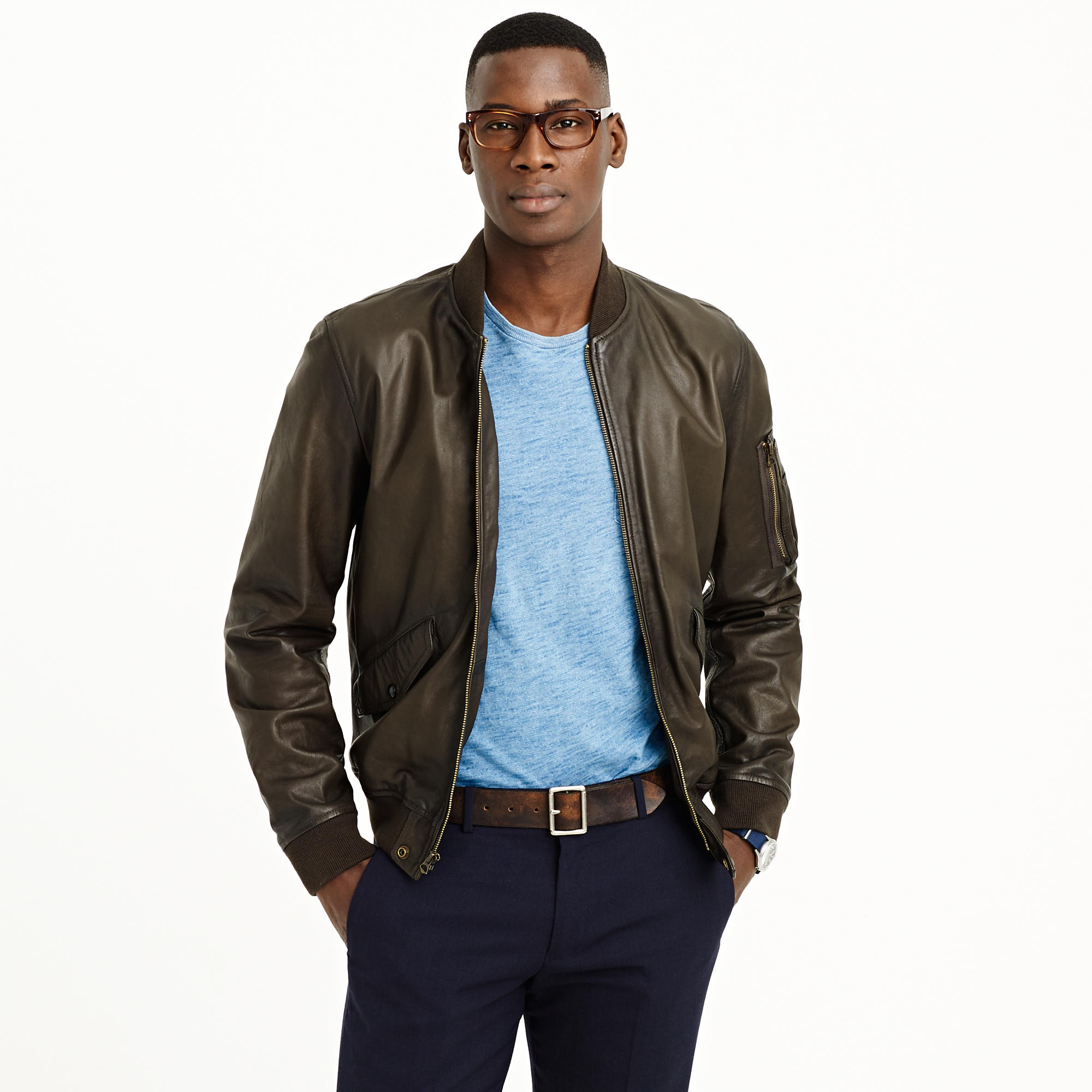 Lyst j crew wallace barnes ma 1 leather jacket in for J crew mens outfits