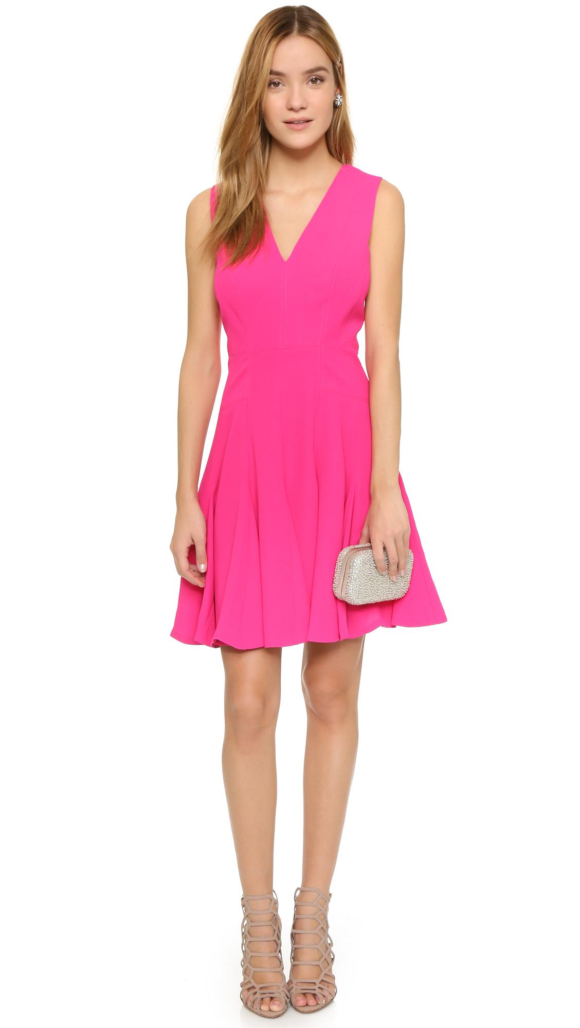 921e128f40d Rebecca Taylor Crepe V Neck Dress in Pink - Lyst