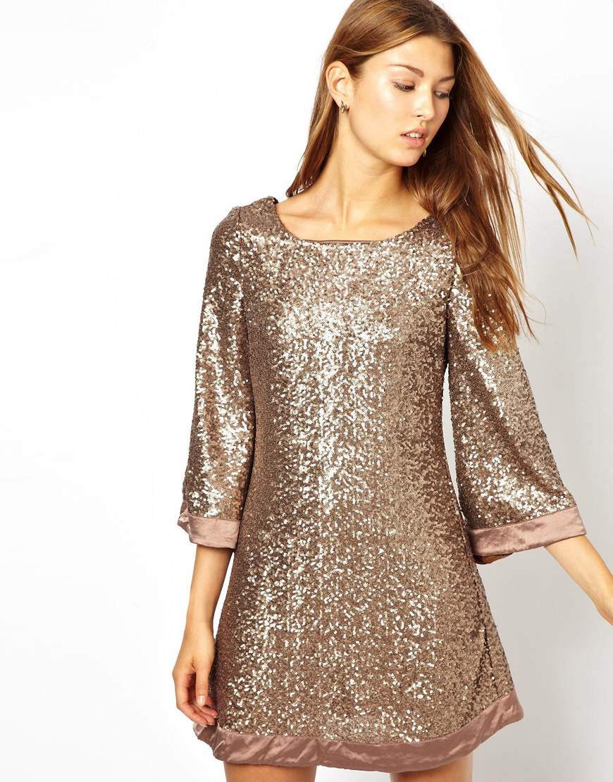 Jarlo Sequin Tunic Dress with Flute Sleeves in Gold