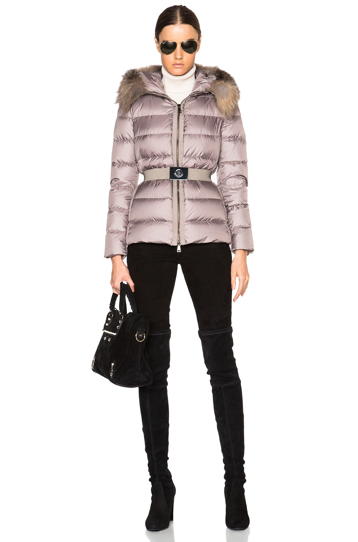 Lyst Moncler Fabrette Short Jacket With Fox Fur Hood In Purple