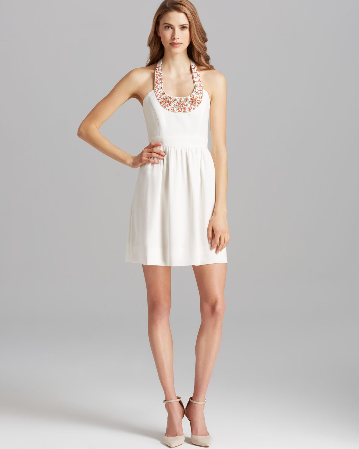 Shoshanna Dress Elenee Beaded Neck Halter in White | Lyst