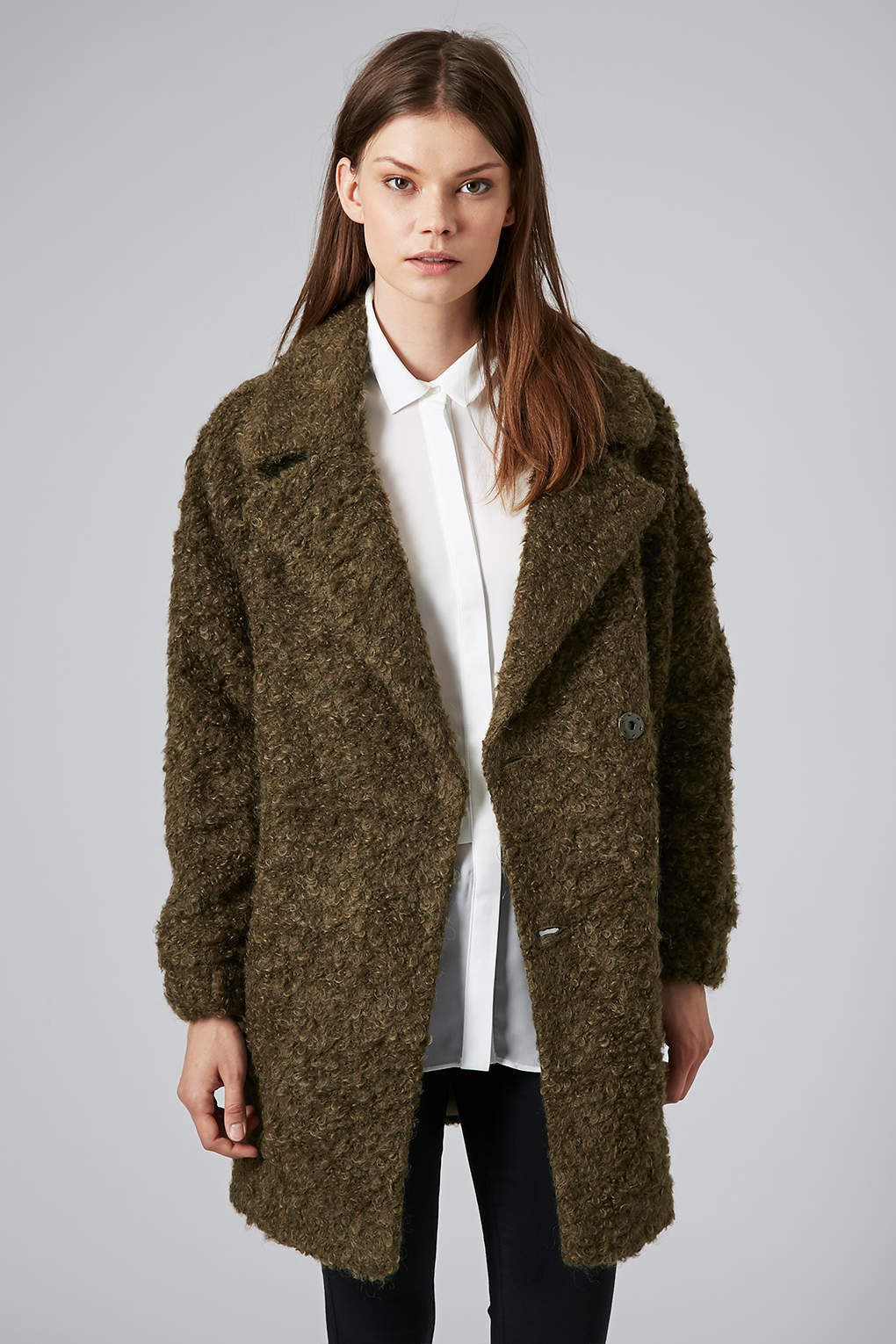 Topshop Womens Slouchy Mohair Boyfriend Coat Olive in Natural | Lyst