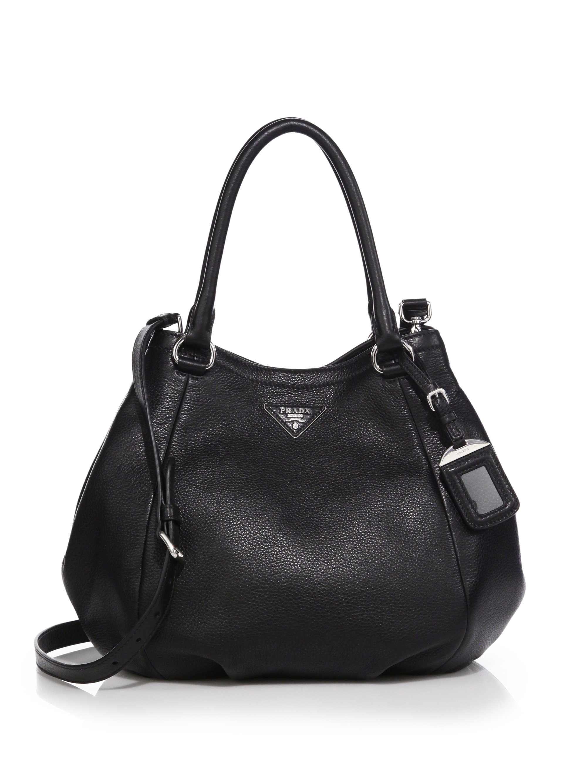 9bc023897c9c Prada Daino Leather Satchel in Black - Lyst