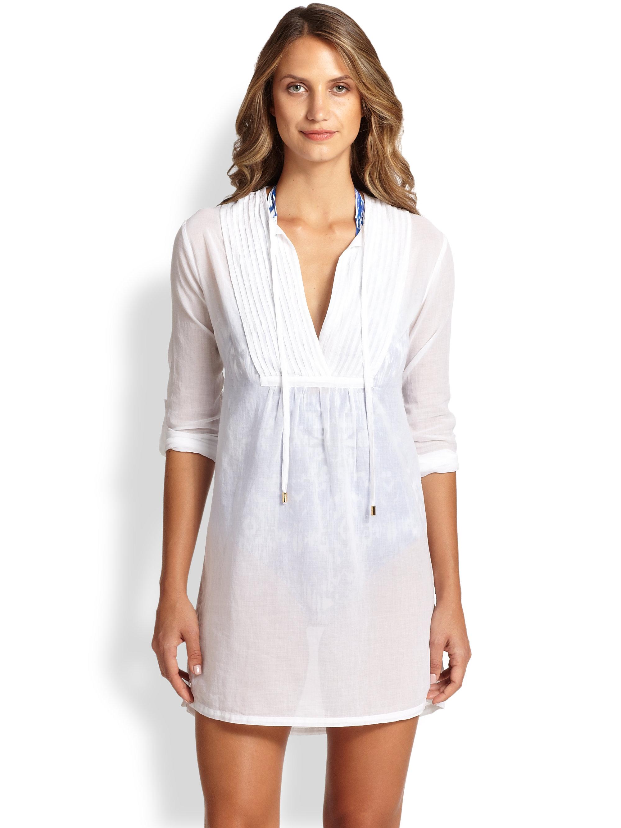 Lyst Heidi Klein Pintuck Cotton Tunic In White