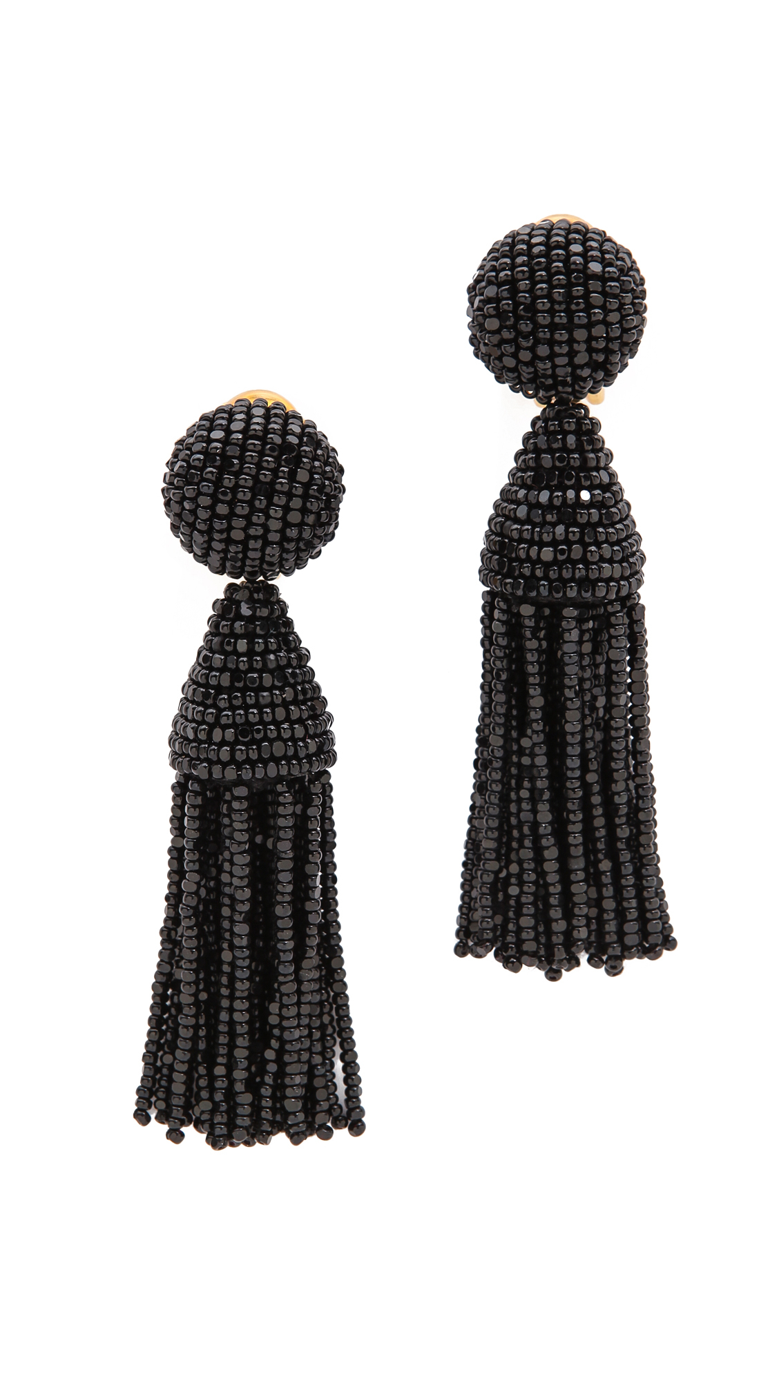 Oscar De La Renta Classic Short Tassel Earrings In Black
