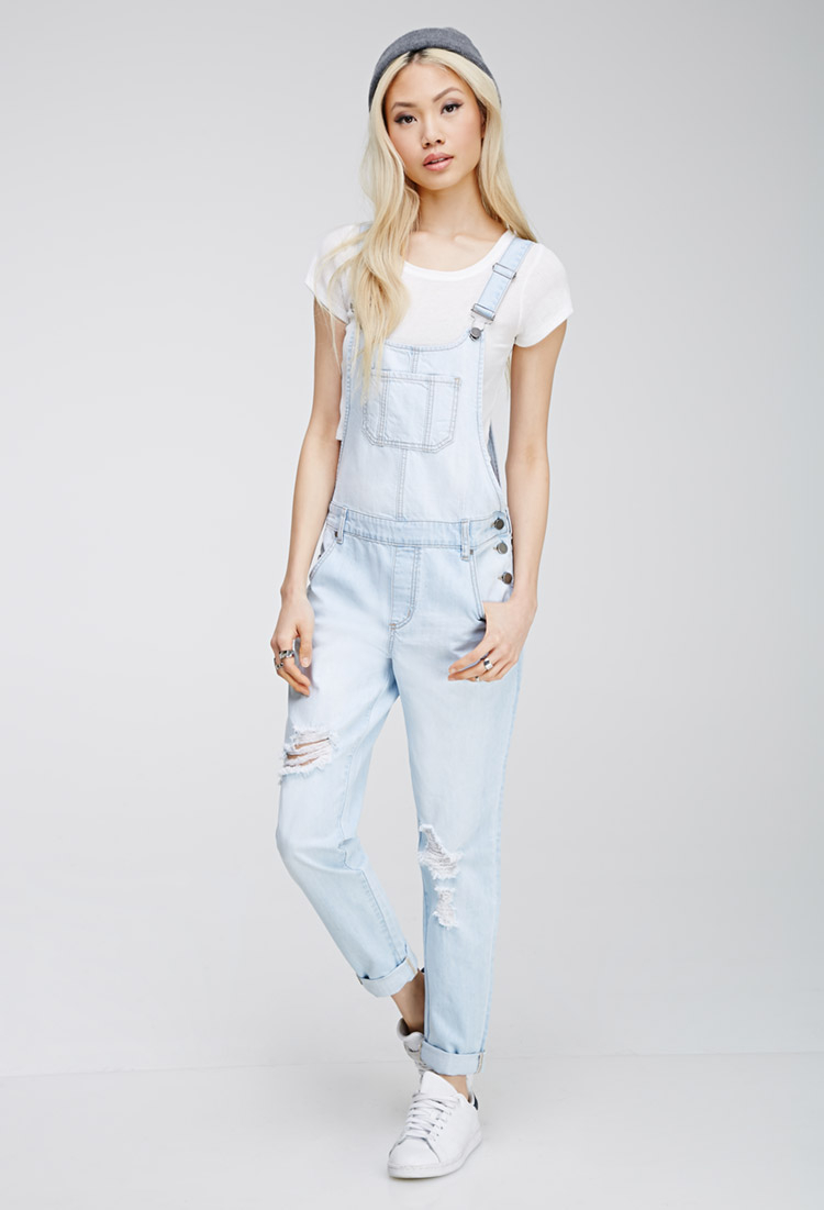Lyst Forever 21 Distressed Bib Overalls In Blue